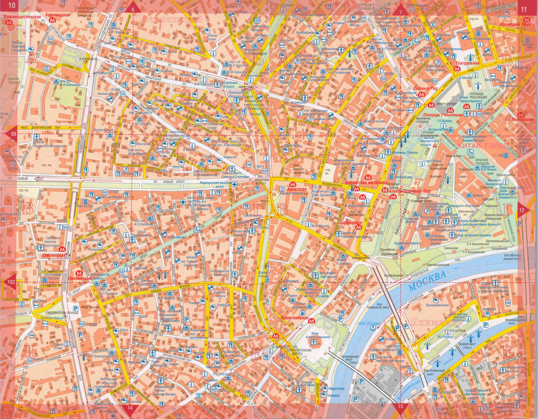 Схема московских улиц в центре