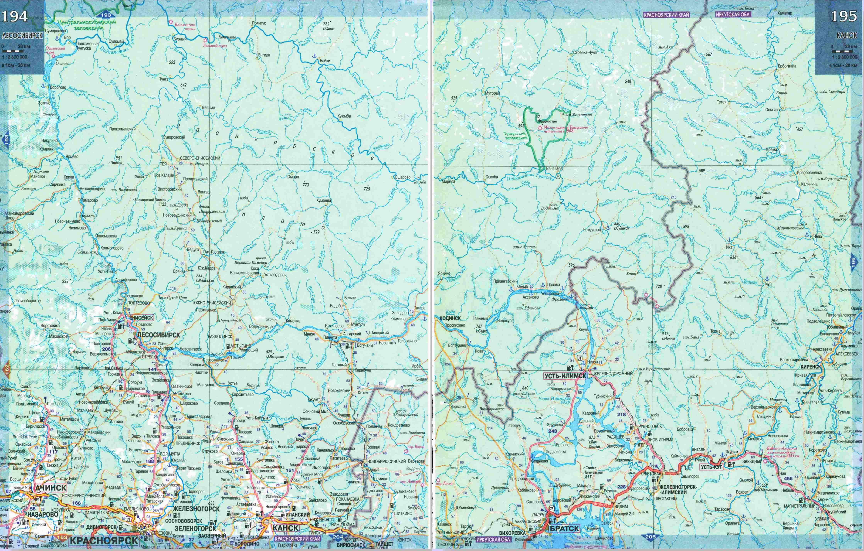 Подробная карта дорог Красноярского края.